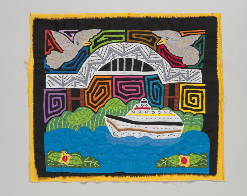 <em>Dulemola</em> (Blouse Panel) with Panama Canal and Bridge of the Americas